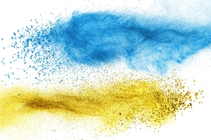 Blue and yellow spray