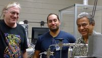 Eric Peterson, Andrew DeLaRiva and Abhaya Datye in the lab Photo credit | University of New Mexico