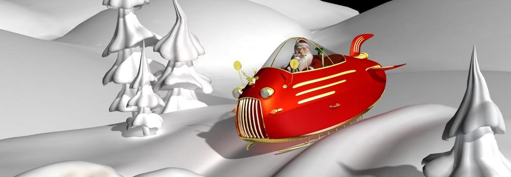 Futuristic santa sleigh