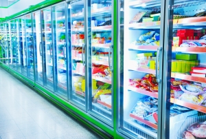 Freezer aisle in supermarket