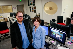 (L-R): Professor Roger Altizer and Kerry Kelly. Image courtesy of University of Utah College of Engineering