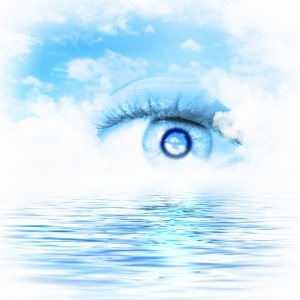 Eye looking over water