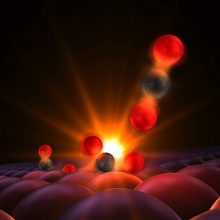 This illustration shows atoms forming a tentative bond, a moment captured for the first time in experiments with an X-ray laser at SLAC National Accelerator Laboratory. The reactants are a carbon monoxide molecule, left, made of a carbon atom (black) and an oxygen atom (red), and a single atom of oxygen, just to the right of it. They are attached to the surface of a ruthenium catalyst, which holds them close to each other so they can react more easily. When hit with an optical laser pulse, the reactants vibrate and bump into each other, and the carbon atom forms a transitional bond with the lone oxygen, center. The resulting carbon dioxide molecule detaches and floats away, upper right. The Linac Coherent Light Source (LCLS) X-ray laser probed the reaction as it proceeded and allowed the movie to be created.