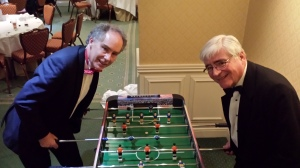 Playing table football at the North East annual dinner with Teesside Member Group Chair, Adrian Northey