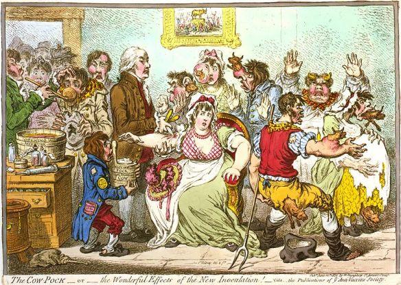 Gillray cartoon showing the 'impact' of Smallpox vaccine