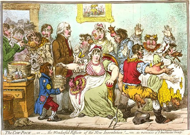 Gillray cartoon showing the 'impact' of Smallpox vaccine