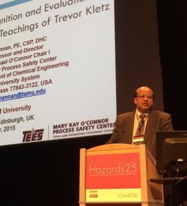 Sam Mannan's inaugural Trevor Kletz memorial lecture at Hazards 25
