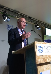 Stef Simons, Energy Centre Chair, speaking at COP21 earlier today